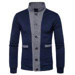 Stand Collar Color Block Panel Button Up Cardigan - CADETBLUE