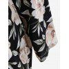 Peony Print Kimono And Cami Top and Pants Pajamas Suit - PRETO
