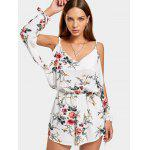 Cut Out Sleeve Floral Print Cami Romper - BRANCO