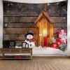 Christmas Snowman Candle Wood Wall Tapestry - WOOD COLOR