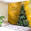 Merry Christmas Tree Print Wall Tapestry - GOLDEN