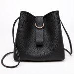 Grommet Faux Leather Handbag - BLACK