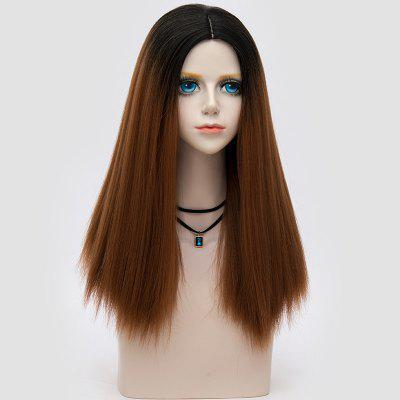 Long Middle Part Fluffy Ombre Straight Party Synthetic Wig