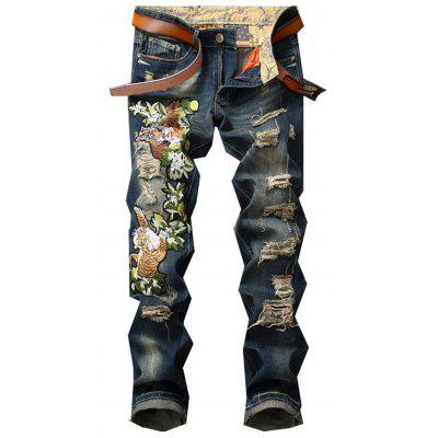 Buy DENIM BLUE Zipper Fly Tiger and Floral Embroidered Ripped Jeans for $45.21 in GearBest store