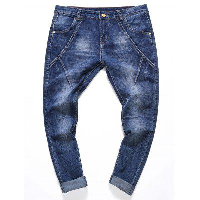 Buy BLUE Zipper Fly Stretchy Panel Ripped Jeans for $32.92 in GearBest store
