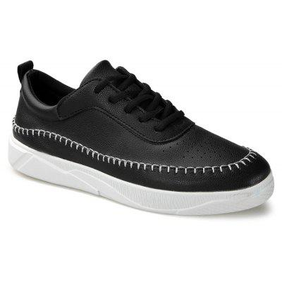 Buy BLACK Round Toe Stitching Faux Leather Sneakers for $35.83 in GearBest store
