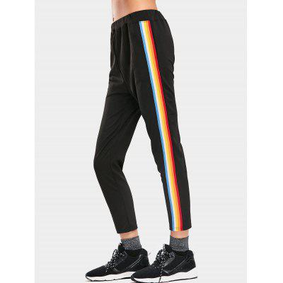 Buy BLACK S High Waisted Striped Sports Pants for $22.03 in GearBest store
