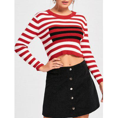 Buy STRIPE M Striped Crew Neck Cropped Sweater for $21.89 in GearBest store