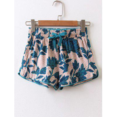 Tropical High Waisted Drawstring Shorts