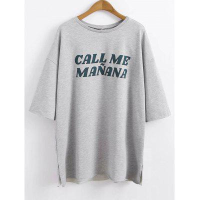 Letter Drop Shoulder Oversized T-shirt
