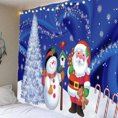 Father Christmas and Snow Printed Waterproof Wall Hanging Tapestry