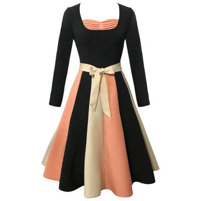 Long Sleeve Color Block Flare Vintage Dress