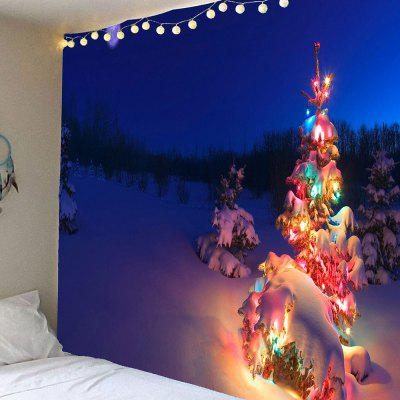 Christmas Tree Lighting Printed Waterproof Wall Hanging Tapestry