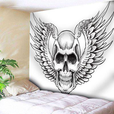 Wall Hanging Skull Wings Print Tapestry