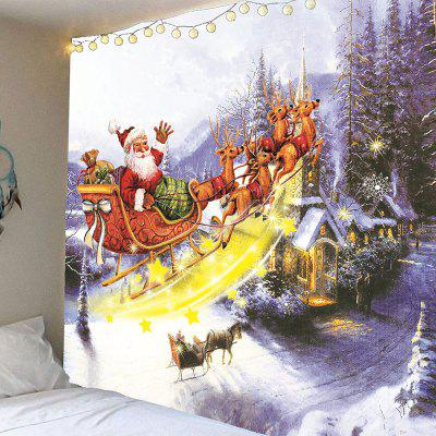 Buy COLORFUL Christmas Carriage and Castle Printed Waterproof Wall Hanging Tapestry for $16.59 in GearBest store
