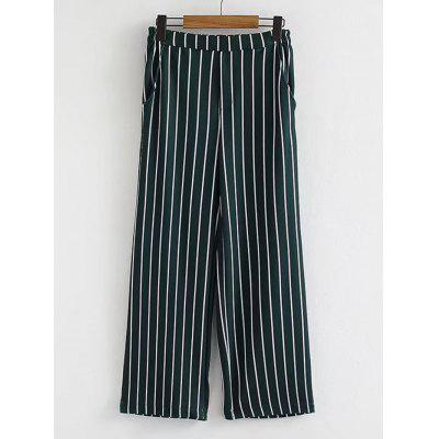 Stripes Casual High Waisted Wide Leg Pants