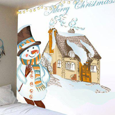 Christmas Snowman and House Pattern Waterproof Wall Hanging Tapestry
