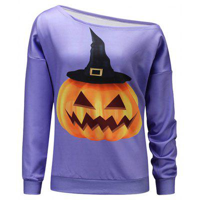 Pumpkin Print Halloween One Shoulder Sweatshirt