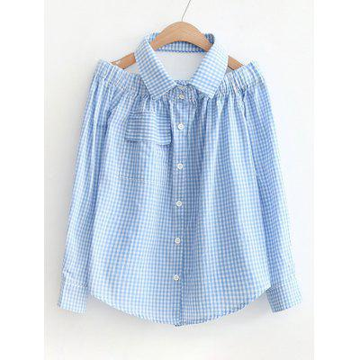 Cold Shoulder Checked Pocket Shirt