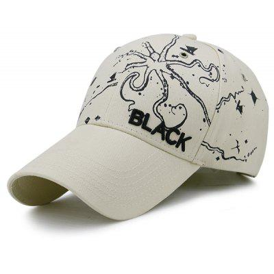 Black Embroidered Handpainted Printed Baseball Hat
