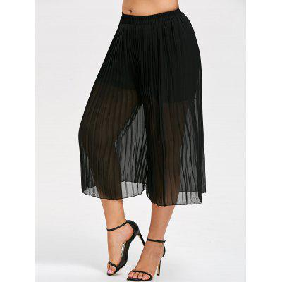 Plus Size Pleated Chiffon Dressy Pants