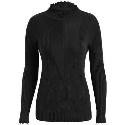 Buy BLACK 3XL Plus Size High Neck Ribbed Sweater for $29.27 in GearBest store