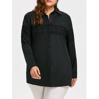 Plus Size Lace Bordado Button Up Long Shirt