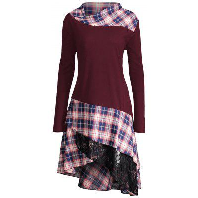 Buy WINE RED XL Lace Plaid Panel Plus Size Long Top for $22.60 in GearBest store