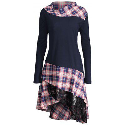 Buy PURPLISH BLUE 2XL Lace Plaid Panel Plus Size Long Top for $22.60 in GearBest store