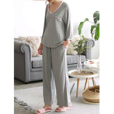 Buy GRAY L Cosy Loungewear T-shirt with Pants for $34.08 in GearBest store
