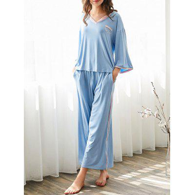 Buy LIGHT BLUE L Cosy Loungewear T-shirt with Pants for $34.08 in GearBest store