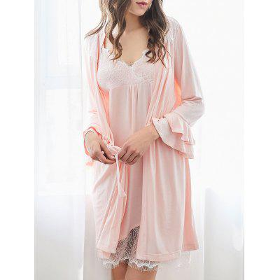 Buy PINK 2XL Cosy Loungewear Cami Dress with Kimono for $32.70 in GearBest store