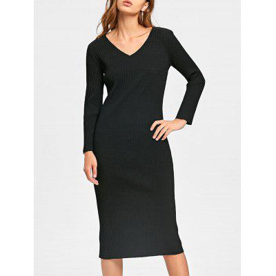 Buy BLACK 2XL Long Sleeve Cut Out Ribbed Dress for $26.37 in GearBest store
