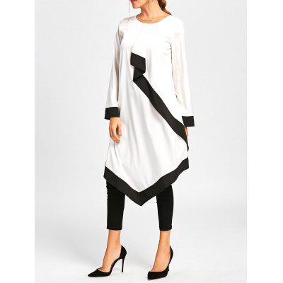 Buy Colorblock Ruffle Handkerchief Midi Dress, WHITE AND BLACK, 2XL, Apparel, Women's Clothing, Women's Dresses, Maxi Dresses for $20.04 in GearBest store