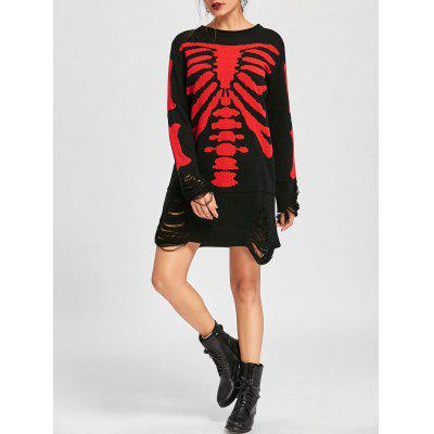 Vestito da Jumper di Halloween Skeleton Distressed