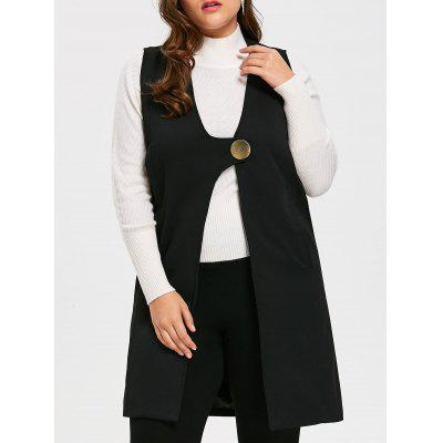Plus Size Long Sleeveless Blazer Coat