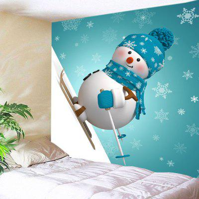 Wall Hanging Art Christmas Snowman Skiing Print Tapestry