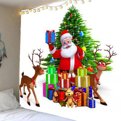 Santa Claus and Christmas Gifts Waterproof Wall Hanging Tapestry
