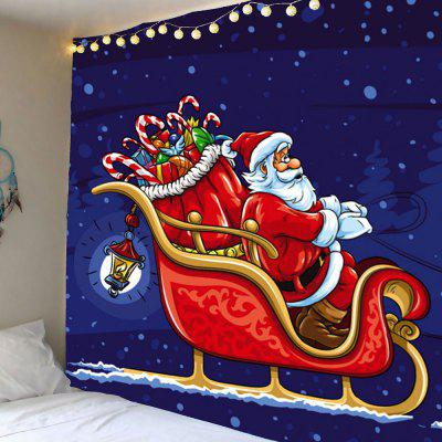 Christmas Carriage Santa Claus Pattern Waterproof Wall Hanging Tapestry