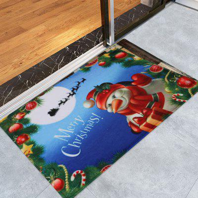 Merry Christmas Snowman Pattern Water Absorption Area Rug
