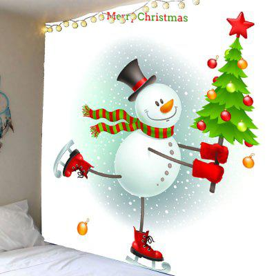 Christmas Snowman Skating Pattern Waterproof Wall Hanging Tapestry