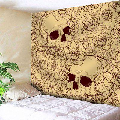 Skull Floral Print Bedroom Wall Tapestry