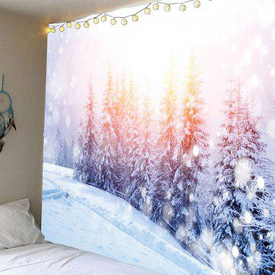Snowscape Forest Printed Waterproof Wall Tapestry