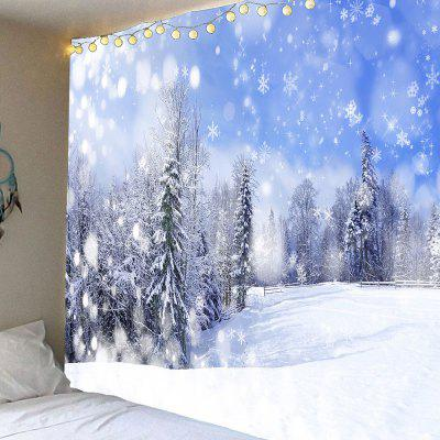 Falling Snowflakes Forest Hanging Wall Art Tapestry