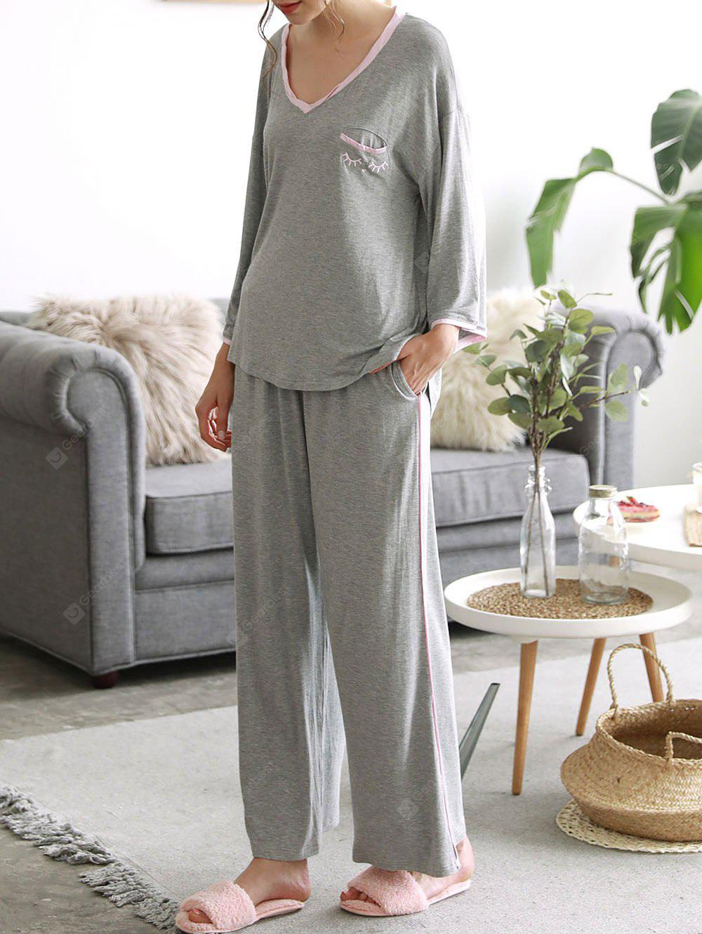 GRAY M Cosy Loungewear T-shirt with Pants