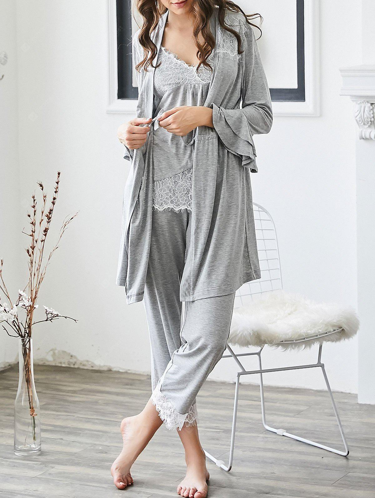 Lace Trim Loungewear Cami Top and Pants with Kimono