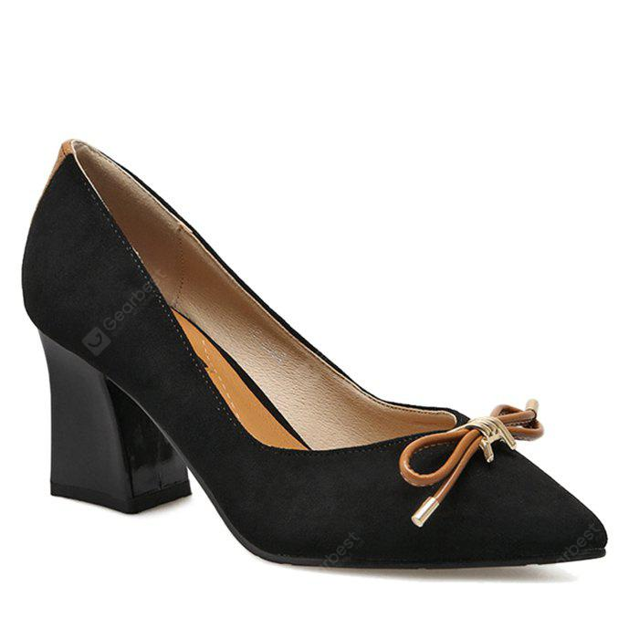 Block Heel Pumps with Bow Accent