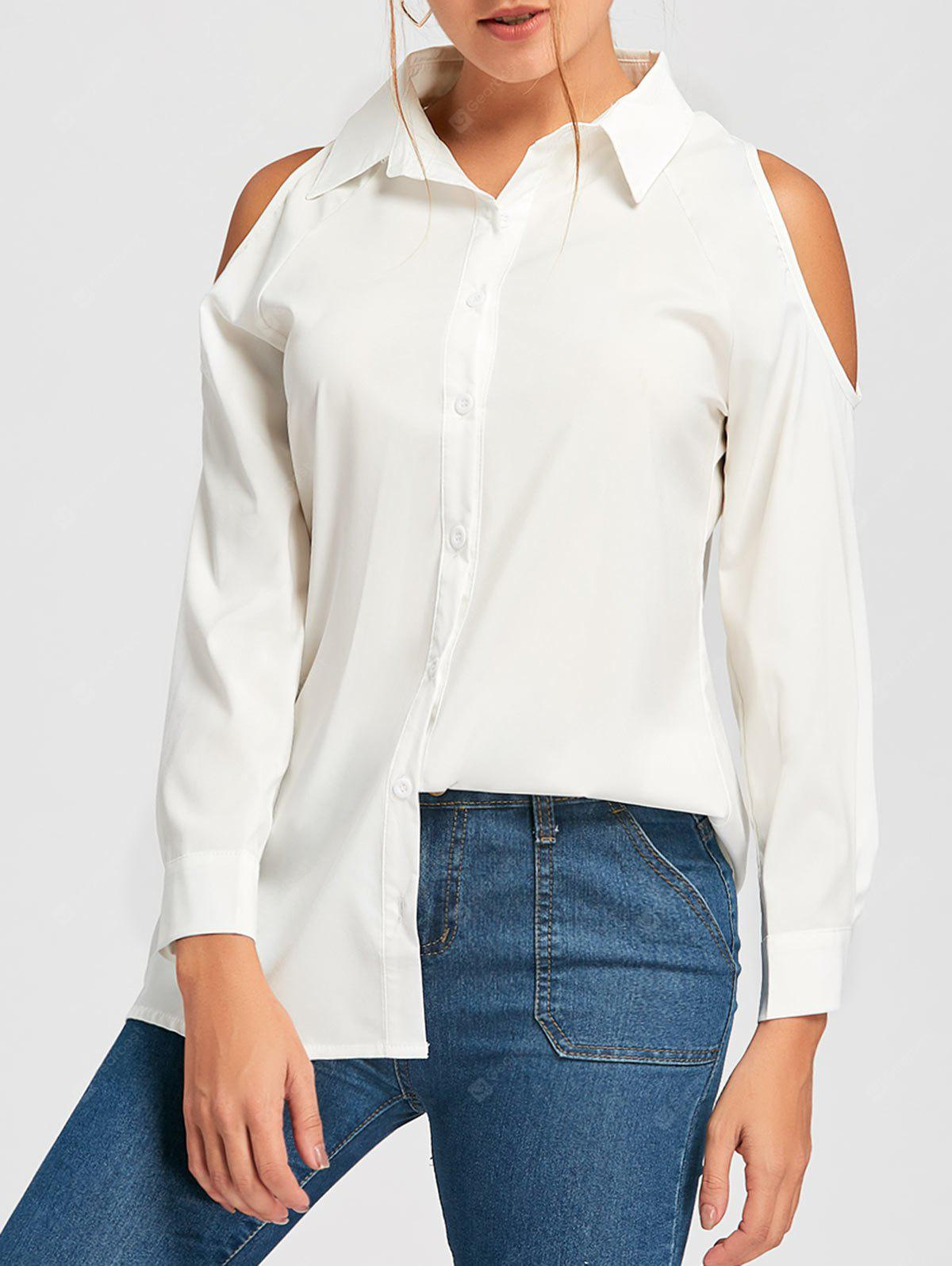 Cold Shoulder Button Down Tunic Shirt
