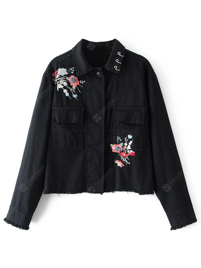 Floral Embroidered Beaded Denim Jacket