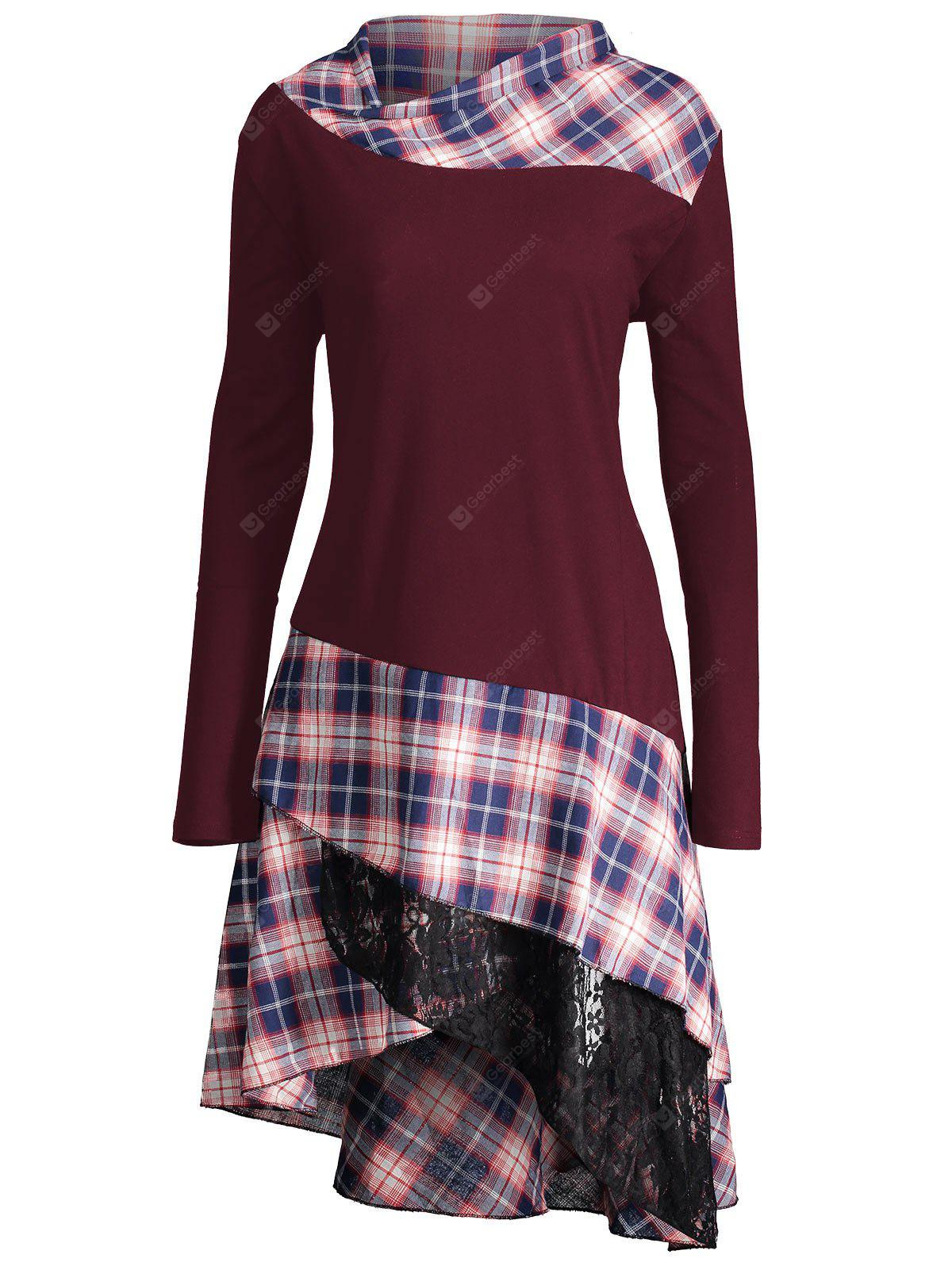 WINE RED 4XL Lace Plaid Panel Plus Size Long Top
